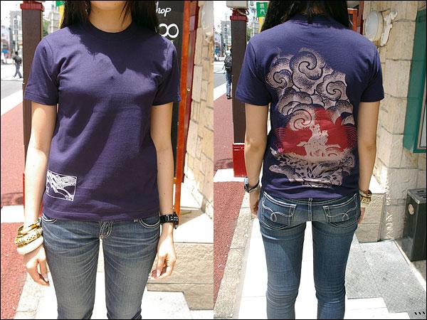 戦国Tシャツ【越後の龍・上杉謙信・第4弾】紺女性着用